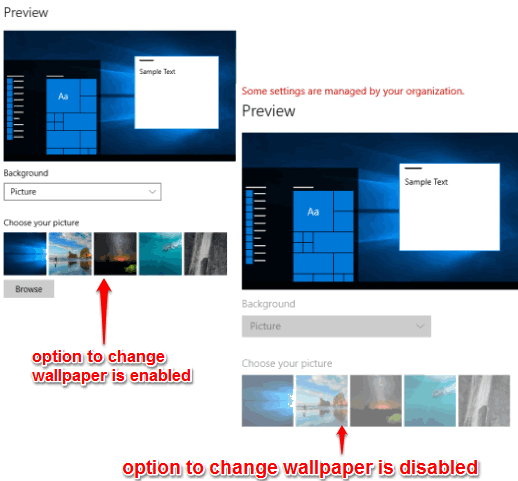 disable wallpaper change in windows 10
