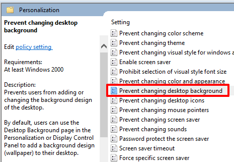 double click on prevent changing desktop background