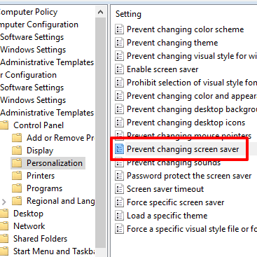 double click on prevent changing screen saver option