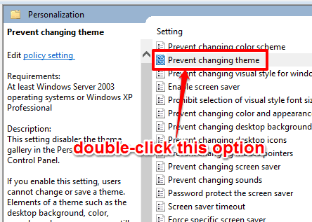 double click on prevent changing theme option