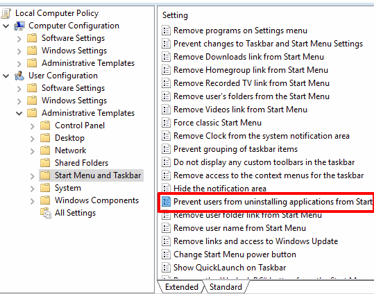 double click on prevent users from unistalling applications from start option