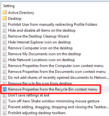double click on remove properties from the recycle bin context menu option