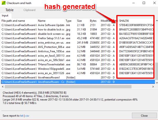 generate hash of multiple files
