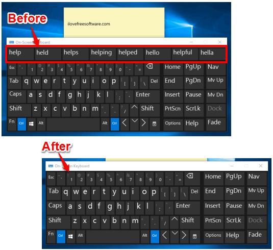 hide text suggestion in on-screen keyboard in windows 10