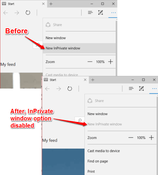 incognito mode disabled in microsoft edge