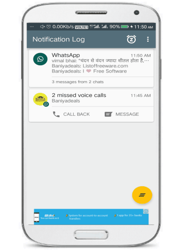 notif log notification history- 5 free notification hubs for Android