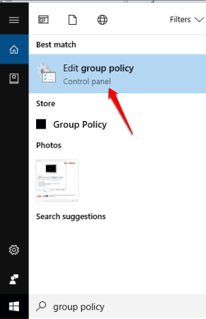 open group policy window