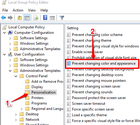 open prevent changing color and appearance option in personalization folder
