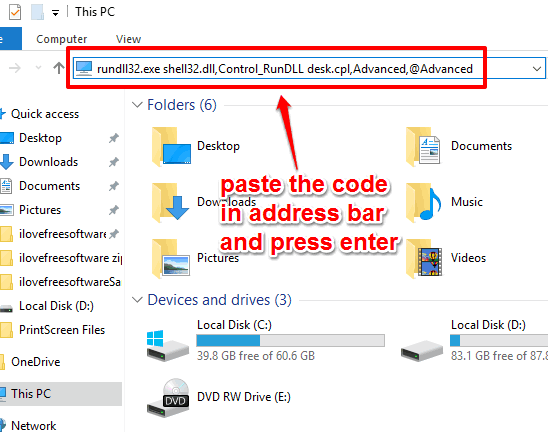 paste code in file explorer address bar and press enter