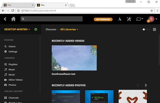 plex dashboard