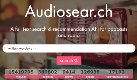 podcast search engine to search content spoken of podcast- audiosearch homepage