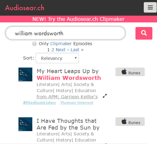 podcast search engine to search content spoken of podcast