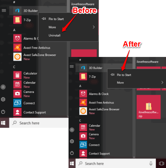 prevent from uninstalling applications from windows 10 start menu