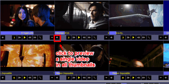 live thumbnails to preview multiple or single movie