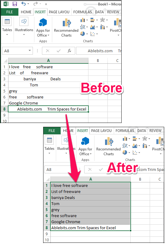 remove leading, trailing spaces from entire excel sheet