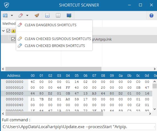 remove malicious shortcuts from Windows- shortcut scanner- clean dangerous shortcuts