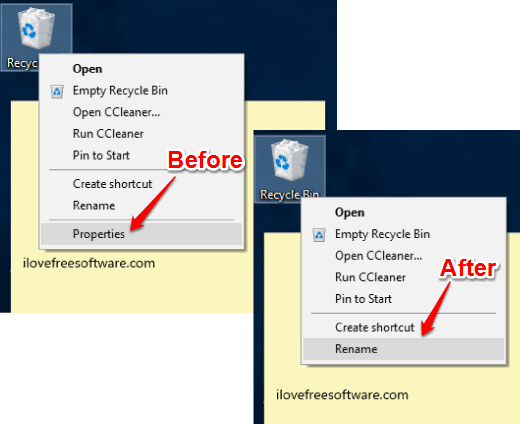 remove properties option from recycle bin context menu in windows 10