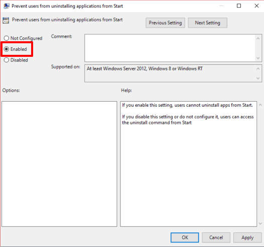 select enabled and save changes