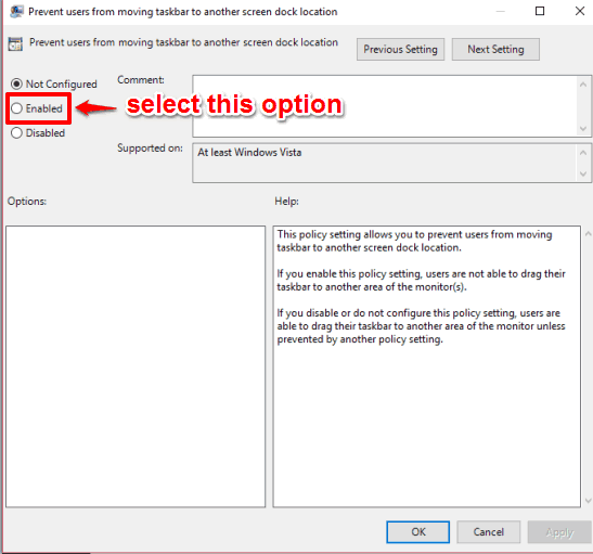 select enabled option and save