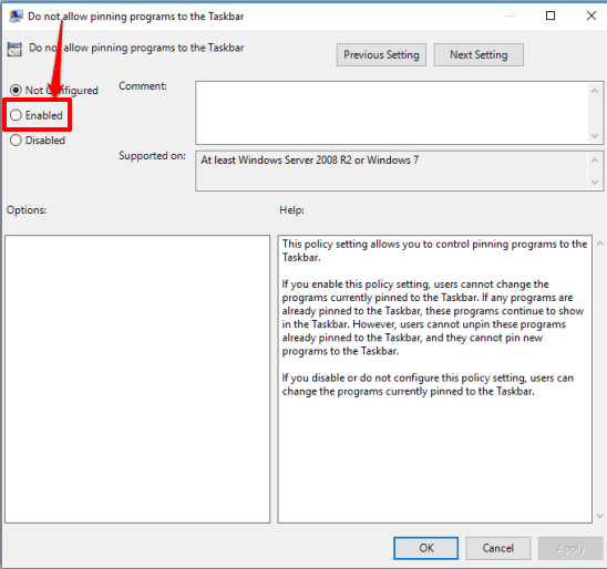 select the enabled option and save your changes