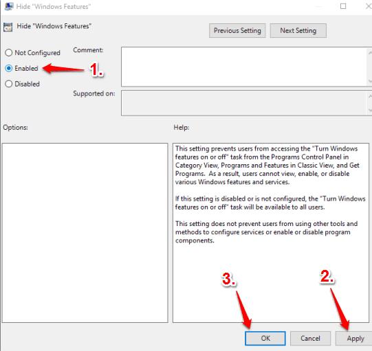 set enabled option