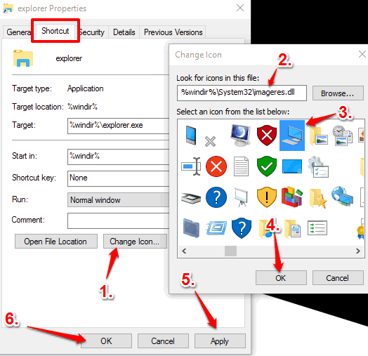 set this pc icon for shortcut