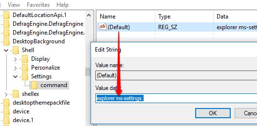 set value data of default string value