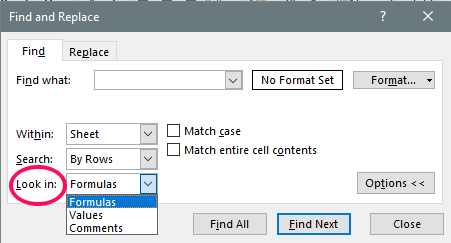 show cells formula specific find