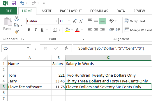 spell currency in excel