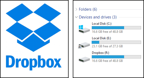 use dropbox as pc partition
