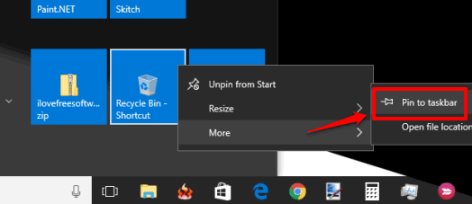 use pin to taskbar option