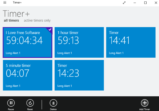 windows 10 multi timer apps- timer+
