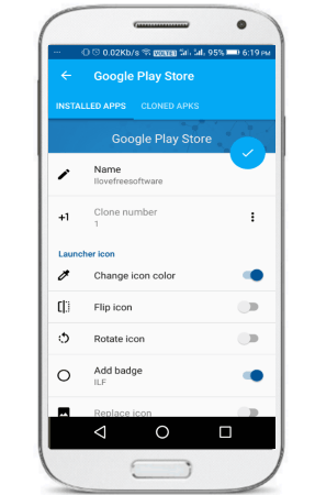 App Cloner preferences