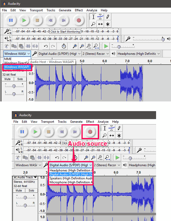 Audacity recording in action