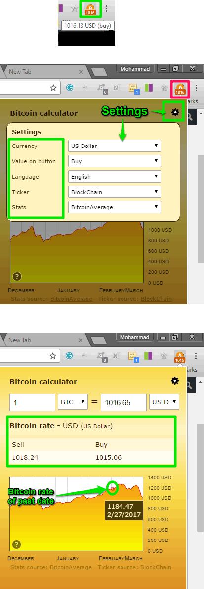 Bitcoin Browser Extension in action
