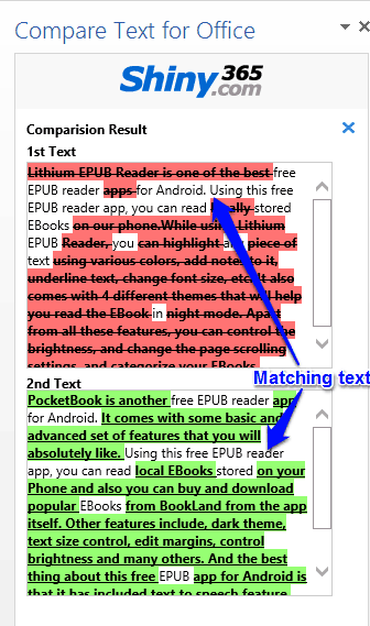 Compare text for office in action