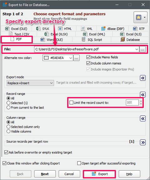 Exportizer database export prequisites