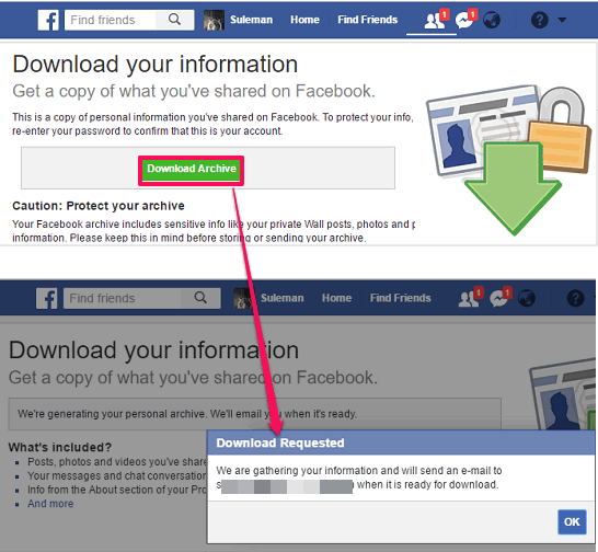 Facebook downlaod settings request