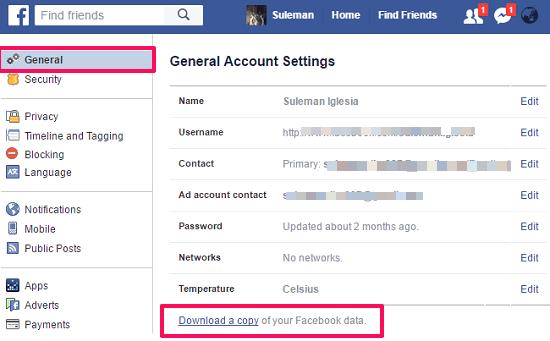 Facebook general settings download option