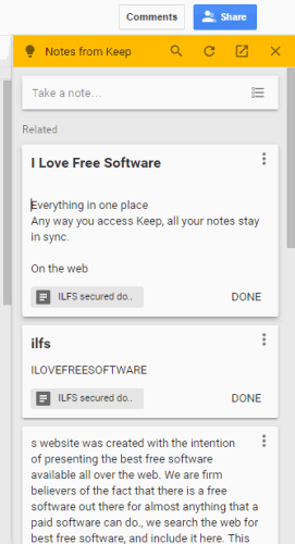 Google Keep notes visible in a sidebar