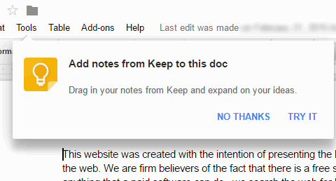 add notes from keep to this doc pop up