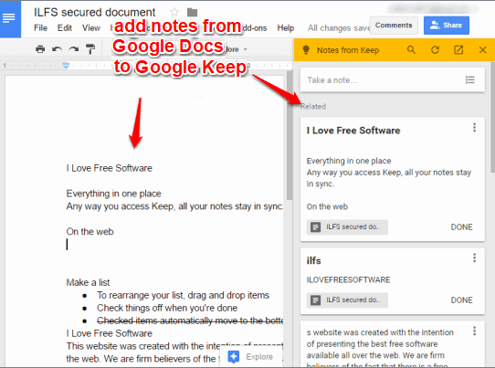 add notes to google keep from google docs document