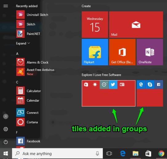 add tiles in groups in windows 10 start menu