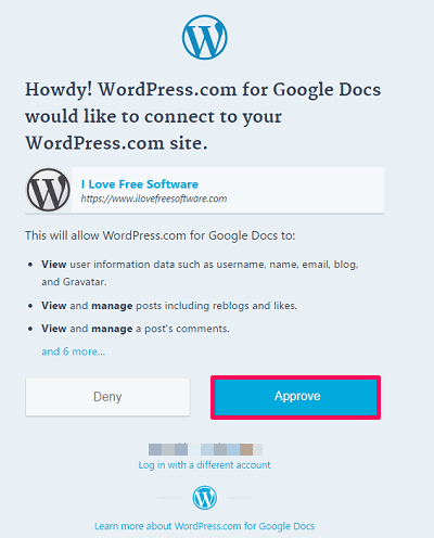 approving the wordpress request
