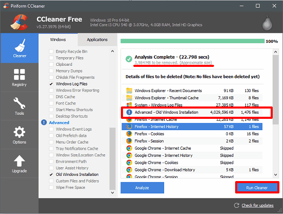 ccleaner done analysing