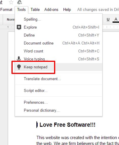 click on Keep notepad option in Tools menu