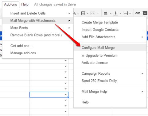 configure mail merge