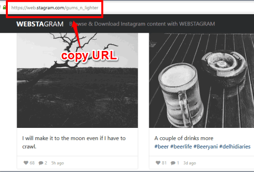 copy url and then use it