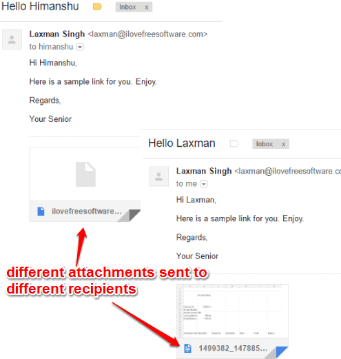 different attachments sent to different users