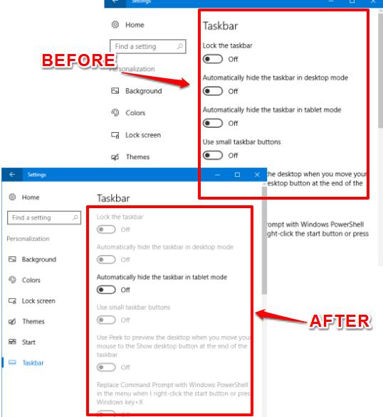 disable taskbar settings in windows 10